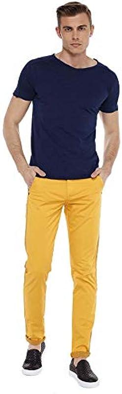 Cipo & Baxx Męskie Chino Hose Pants Freizeithose Baumwolle Jeans Hose Gelb W32 L34: Odzież