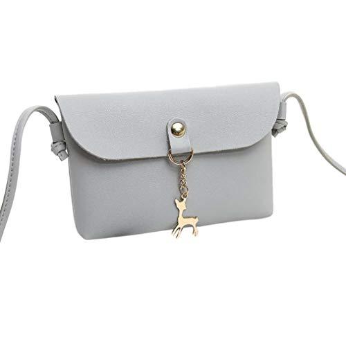 Leather Bafaretk GREY Vintage Pendant Deer Women Bag Small Messenger Fashion Shoulder Crossbody rwqOw1X