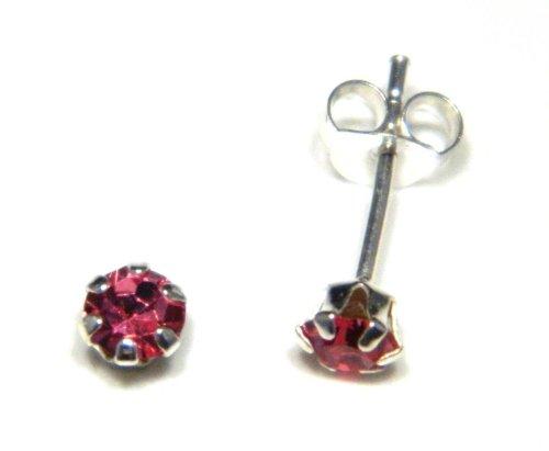 Arranview Jewellery Boucles d'oreille Enfant à tige 4mm Cristal Autrichien en rose–en argent sterling 925