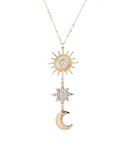 Seni Jewelry Long Pendant Necklace for Women Boho Sun and Crescent Moon Pendant Sweater Chain Y Shaped Statement Necklace