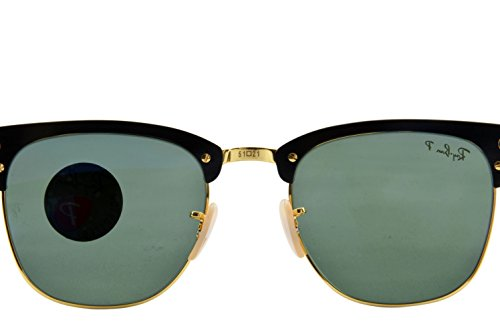 Ray-Ban-CLUBMASTER-ALUMINUM-BLACKARISTA-Frame-POLAR-GREEN-Lenses-51mm-Polarized