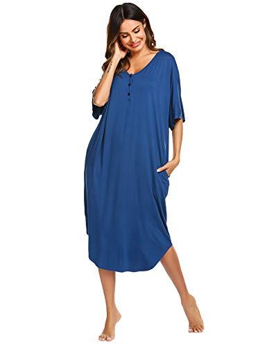 (Ekouaer Cotton Round Neck Nightgown Long Maxi Nightshirt Loose Fit Sleepwear Loungewear with Pockets(Navy)