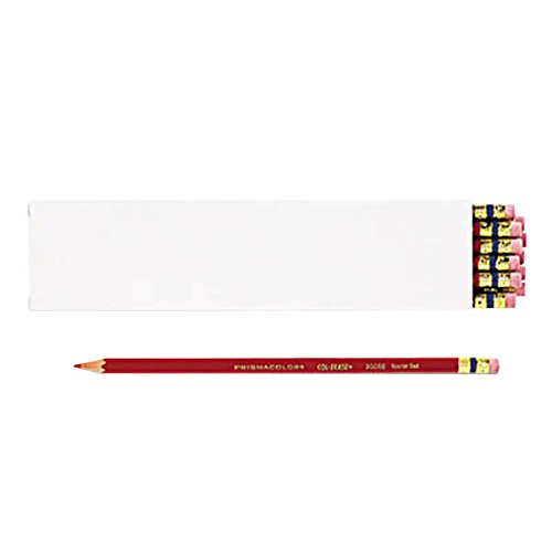 - TableTop King 20066 Col-Erase Scarlet Woodcase Barrel 0.7mm Soft Lead Scarlet Colored Pencil with Eraser - 12/Pack