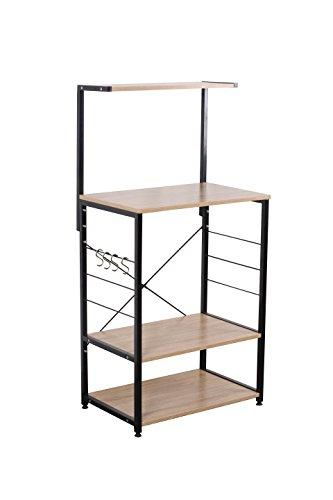 Uniware Professional Wooden Kitchen Shelf/Baker Rack 4 Tier Shelves (23.62″ L x 15.75″ W x 48.43″ H)