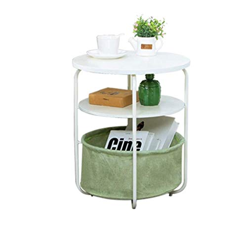 - Yxsd 3 Tiers End Table with Storage Basket Round Coffee Side Table Modern Night Stand Small Sofa End Bedside Telephone Table Storage Unit for Living Room Bedroom, 42 × 42 × 51 cm