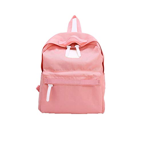 Price comparison product image Casual Parent-Child Solid Bag, Vertily Family Hiking School Travel Soft Backpack (Pink, Small)