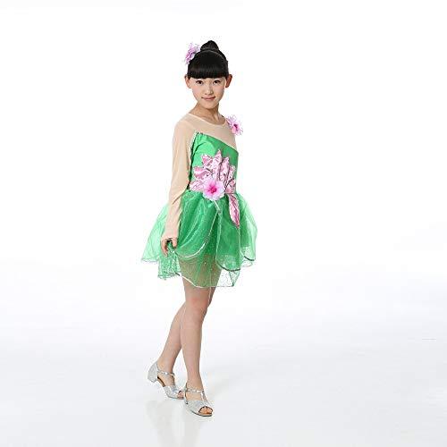 Vêtements De Danse Pour Enfants - Filles Zevonda Paillettes Grand Costume De Formation Robe De Danse Latine Pétale Vert-1