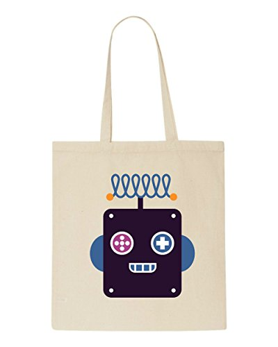 Beige Character Robot Full Shopper Bag Thirteen Vintage Tote wvq0Rv1