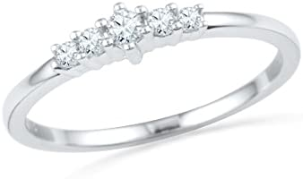 Sterling Silver Round Lab Created White Sapphire Anniversary Ring