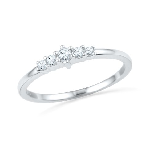 D-GOLD Sterling Silver Round Lab Created White Sapphire Anniversary Ring (Ring Sapphire Created Lab)