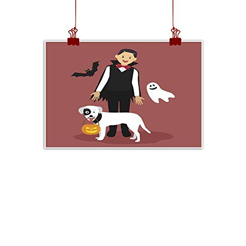 duommhome Living Room Decorative Painting Halloween Dracula Costumes with White Dog Carrying a Pumpkin Living Room Decorative Painting 24