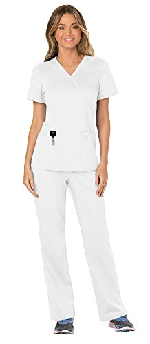 (Cherokee Workwear Revolution Women's Medical Uniforms Scrubs Set Bundle - WW610 Mock Wrap Scrub Top & WW110 Pull On Scrub Pants & MS Badge Reel (White - Large))