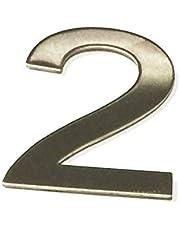 ASC - NUMBER 2 (twee) - Geborsteld RVS STICK OP huis/deur nummer 10cm hoog