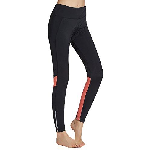 BELEROY Women's Cycling Tights 3D Padded Long Bike Bicycle Pants Gel Capri Pants With Pocket(Orange (Bike Capri)