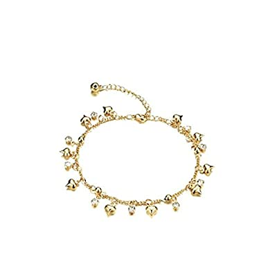 Gold Plated Smooth Heart Bells Clear CZ Anklet,Fit Women Girlfriend Niece Sister Daughter Best Gifts for sale