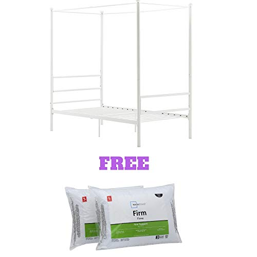 Mainstays Easy to Assemble Modern Design Sturdy Metal Frame Four Post Canopy Bed (Full, - Modern Canopy