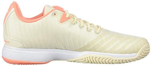 adidas Womens Barricade Court w Tennis Shoe, White/Matte Silver/Grey Two, 6.5 M US Ecru Tint/Chalk Coral/White