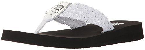 Yellow Box Women's Soleil Wedge Sandal, White/Silver, 8 M US