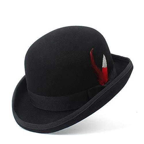 Fashion Fashion 100% Wool Hat Men's and Women's Black Cap Bowler Hats Black Wool Felt Derby Bowler Hats Creative (Color : Black, Size : 61cm)