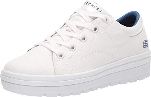Skechers Women's Street Cleat. Canvas Contrast Stitch lace up Sneaker, White, 8 M US
