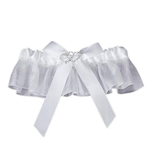 Garter Bridal Leg Sexy Garters Rhinestone Double Heart Bowknot Elastic Ring Wedding Accessory Decoration - Rhinestone Wedding Heart Garters