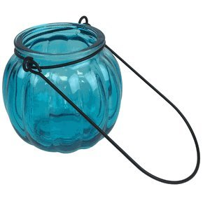 """Just Artifacts (6pcs) - 3"""" Round Ribbed Hanging Decorative Glass Candle Vase - Color: Blue - Decorative Center Piece Decorations for Weddings, Anniversarys, Birthdays and Life Celebrations!"""