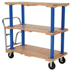 "Wood Platform Cart - BVHPT Series; Number of Shelves: 3; Deck Size (W x L): 36"" x 72""; Capacity (LBS): 1,600; Caster Size: 6"" x 2""; Platform Height: 9-1/2 / 30"" / 50"""