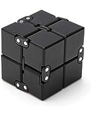 Excellentas Fidget Infinity Cube Oneindige dobbelsteen, stressspeelgoed, behendigheidsspel voor jong en oud, volwassenen of kinderen, zwart