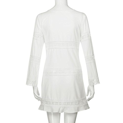 Vestido De Mujer, Xinan Verano De Tres Cuartos De Manga Suelta De Encaje Boho Beach Short Mini Dress Blanco