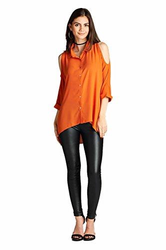 Vina Vino Women's 3/4 Sleeve Off-Shoulder Wool Dobby Chiffon Button Down Shirt