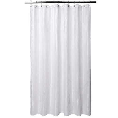 Barossa Design XLong Fabric Shower Curtain Fabric 71 x 86 inches, Hotel Grade, Machine Washable, Water Repellent, 160 GSM Heavyweight, White Stripe Damask
