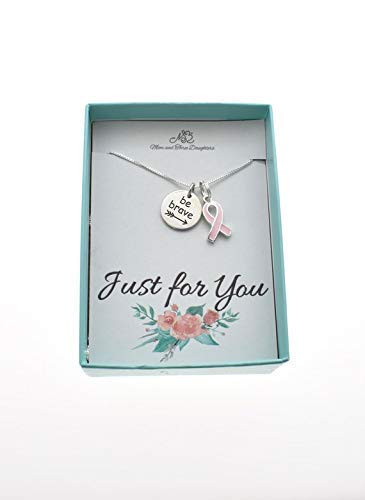 (Be brave charm pendant in sterling silver with sterling silver & enamel pink ribbon on an 18
