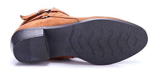 Schuhtempel24 Damen Schuhe Klassische Stiefeletten Stiefel Boots Blockabsatz Schnalle/Used Look 4 cm Camel