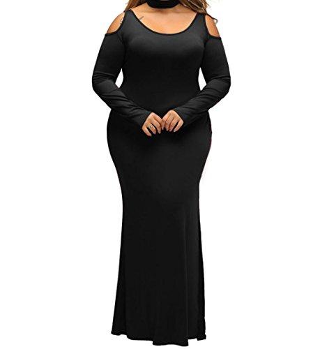 Wool Satin Sheath Dress (YeeATZ Black Cold Shoulder Choker Neck Plus Size Maxi)