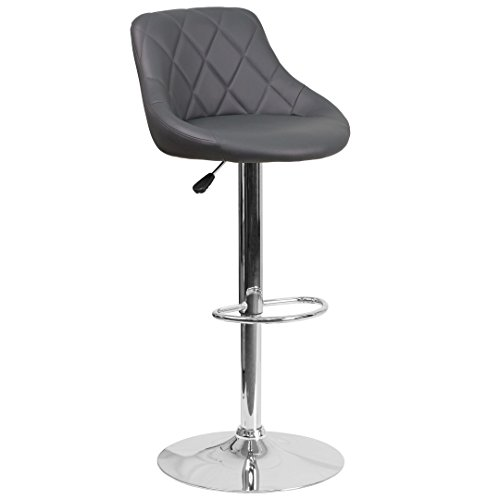 - My Friendly Office MFO Contemporary Gray Vinyl Bucket Seat Adjustable Height Barstool with Chrome Base