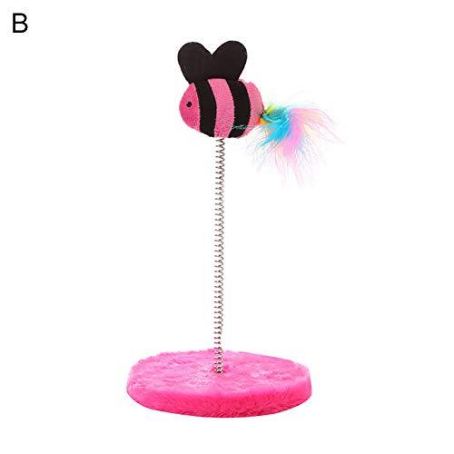 - mage2pnper Stick Pet Catch, Scratching Board Bird Fish Spring Stick Cat Interactive Elastic Toy Pet Supplies - Pink Fish