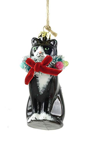 Cody Foster & Co Kitty Cat Wearing Christmas Wreath Glass Hanging Ornament
