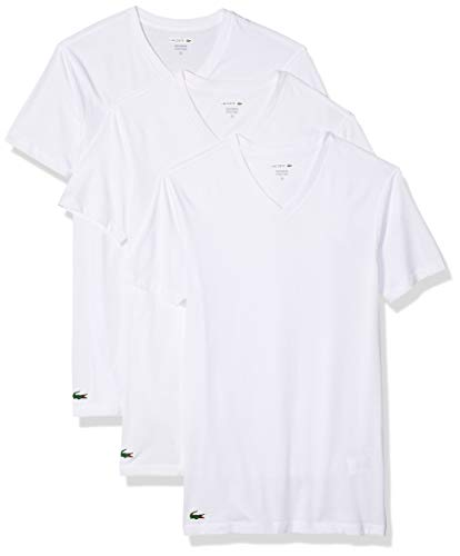 Lacoste Men's Classic Fit Cotton V Neck Tee, Multipack, White, Medium