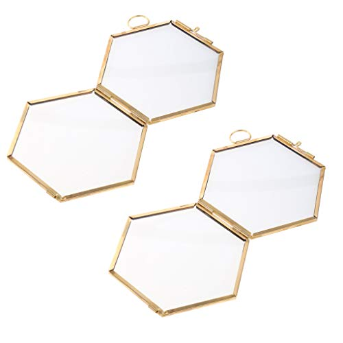 Flameer 2PC Glass Photo Picture Wall Hanging Hexagon Frame Portrait Home Decor - Copper
