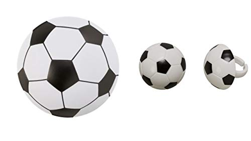 Soccer Ball Pop Top Cake Topper PLUS 24 3D Soccer Ball Cupcake -