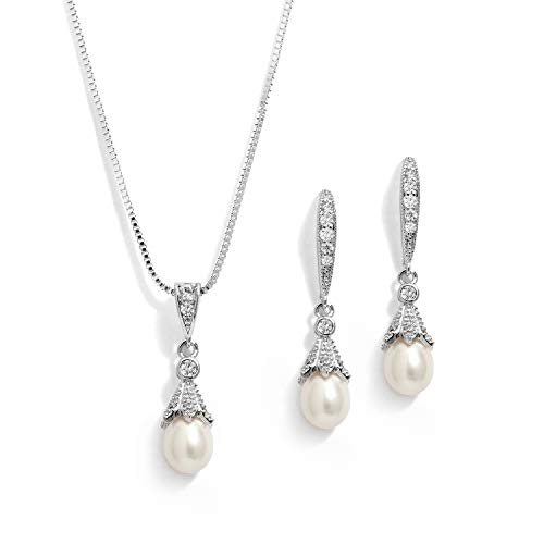 Mariell Wedding Necklace & Earrings CZ Jewelry Set with Dainty Freshwater Pearl for Bridesmaids & Brides (Jewelry Wedding Platinum Set)