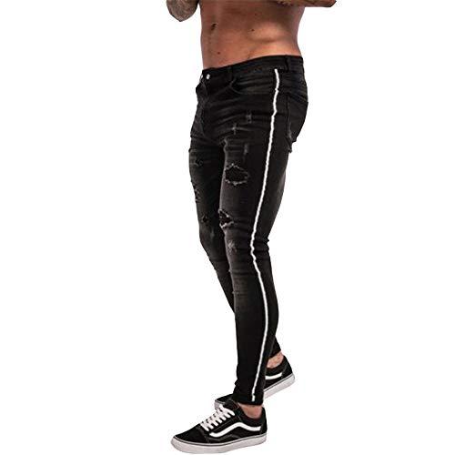- LXLDH Mens Skinny Jeans 2019 Super Cotton Ripped Jeans Men Broken Copper Stretch Denim Pants Elastic Waist Big Size European(Black,XL)