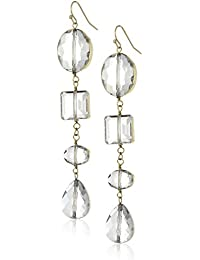 Gold Wrapped Linear Crystal Drop Earrings, White, One Size