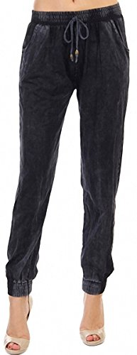 ToBeInStyle Women's Mineral Washed Denim Joggers