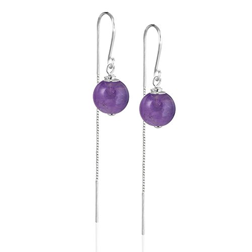 Dangle Bead Earrings Chain (925 Sterling Silver Purple Amethyst Ball Bead Dangle Earrings w/Modern Threader Chain Drop Earrings)