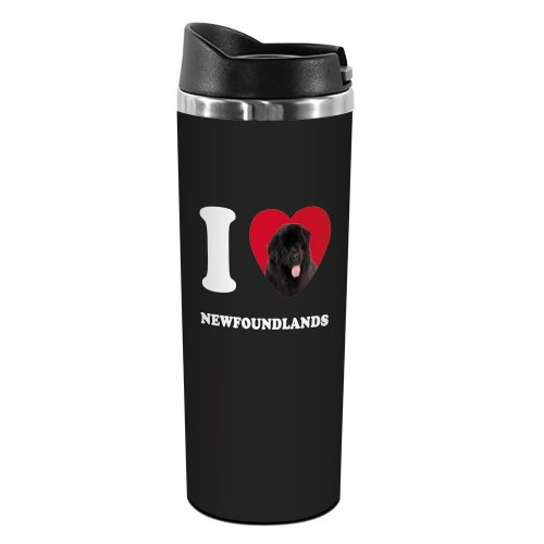 Tree-Free Greetings TT42091 I Heart Newfoundlands 18-8 Double Wall Stainless Artful Tumbler, 14-Ounce