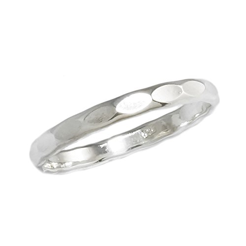 Sterling Silver 2.5mm Wedding Band Hammered Finish Stacking Ring Size 8 (Hammered Band Silver Finish)