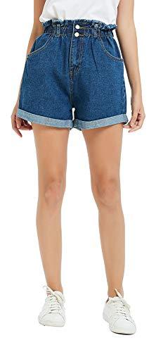 - Plaid&Plain Women's High Waisted Denim Shorts Rolled Blue Jean Shorts Dark Blue M