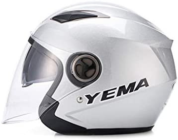 NJ ヘルメット- オートバイの電動ヘルメットの男性と女性の四季ユニバーサルHDの強化レンズのヘルメット (Color : Silver white, Size : 32x24x24cm)