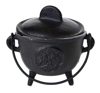 (Home Fragrance Incense Holder Cauldrons Tree of Life Cast Iron Three Legged with Handle and Lid 5